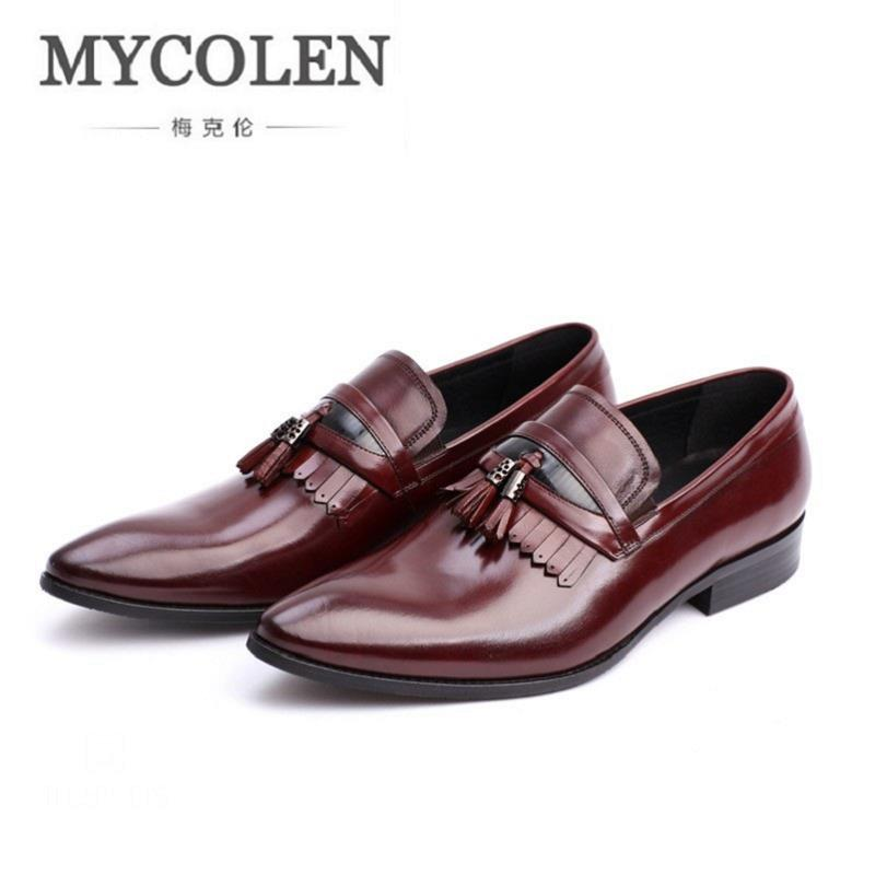 MYCOLEN New Dress Men Shoes British Style Leather Loafers Business Men'S Flats Slip On Tassel Mens Loafers Moccasins mycolen men loafers leather genuine luxury designer slip on mens shoes black italian brand dress loafers moccasins mens