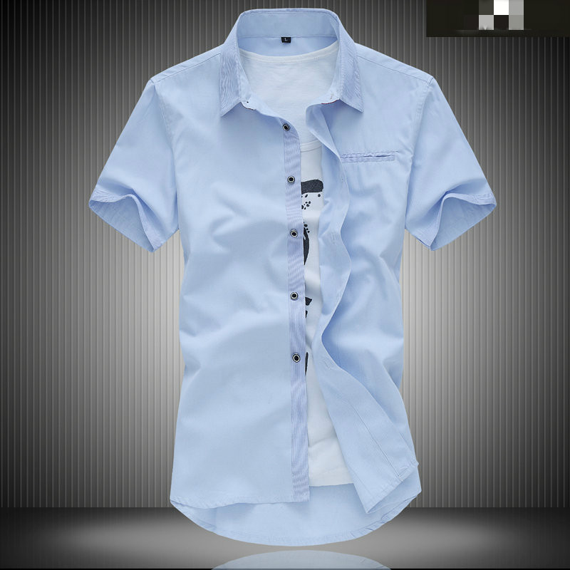 6 Kinds of Color Big Size Summer Men Short Sleeve Shirt Plus Fertilizer to Increase Business Casual Shirt Fat Summer Male
