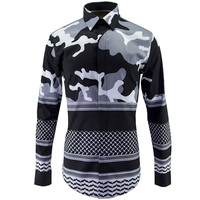 Camouflage Shirts Men Luxury Brand Long Sleeve Striped Cotton Mens Dress Shirts Casual Fitness Business Chemise