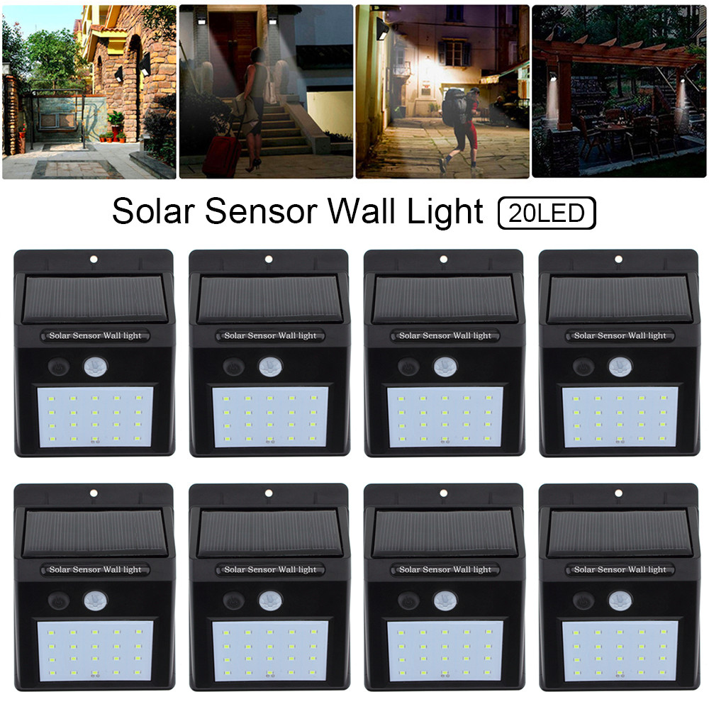 8pcs LED Solar Light Bulb Motion Sensor Security Wall Lamp Outdoor Waterproof Energy Saving Home Garden