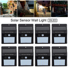 8pcs/lot LED Solar Light Bulb Motion Sensor Security Wall Lamp Outdoor Waterproof Energy Saving Home Garden Street Yard Light