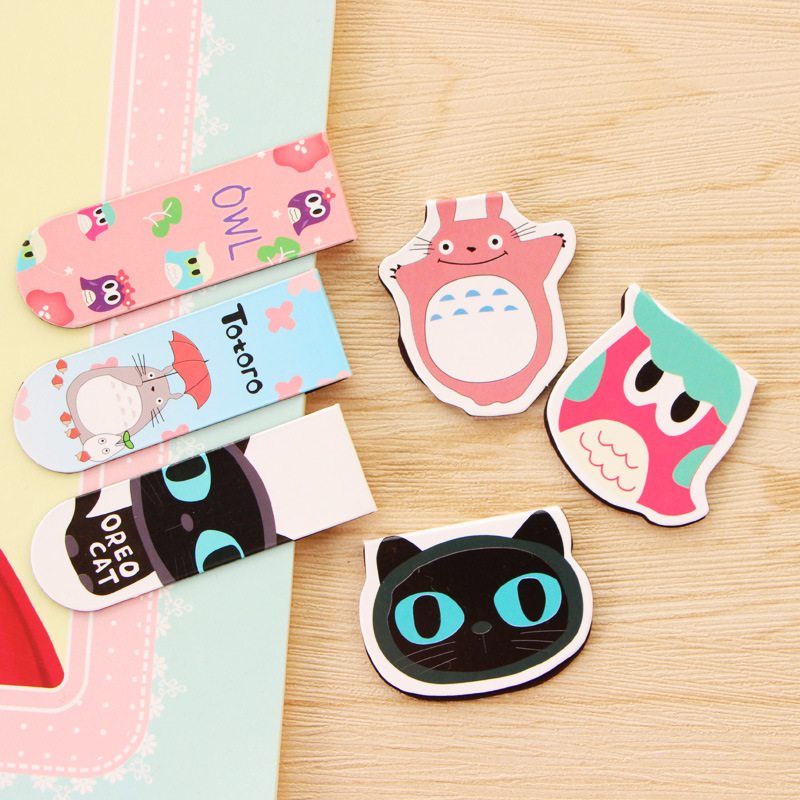 8pcs/set Cute Animal Magnetic Bookmarks Totoro Page Tab For Books Stationery Marcador De Livro Office School Supplies