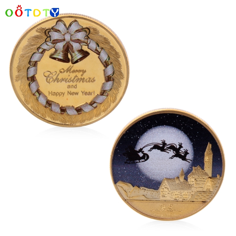 Gold Plated Merry Christmas And Happy New Year Commemorative Challenge Coin Gift