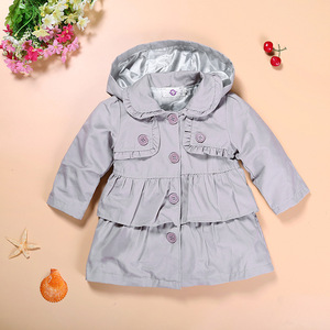 Image 2 - Hooyi Trench coat pour bébés filles, vêtements pour enfants, tenue à capuche pour enfants de 1 5 ans, veste dextérieur gris, sweat shirt