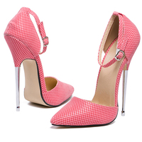 Women Summer Sexy Sandals Snakeskin Wedding Party 16cm Super High Metal Thin Heel Pointed Toe Glossy Pumps Buckle Strap Shoes