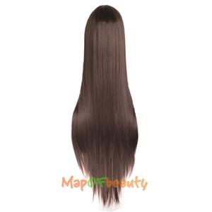 """Image 2 - MapofBeauty 39 """"100 см длинные прямые парики для женщин черный коричневый белый парик для косплея Женские синтетические волосы поддельные шиньоны розовая сетка"""