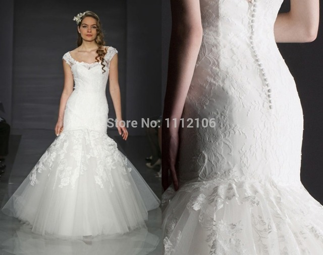 New trends bateau neck lace and tulle wedding dress cap