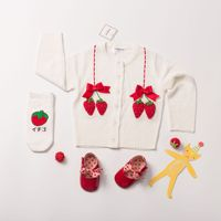 new autumn baby girls outwear strawberry knitted jacket