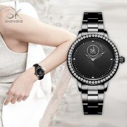 Shengke nova moda feminina relógios preto pulseira de quartzo senhoras relógios cristal estilo luxo erkek kol saati zegarek damski