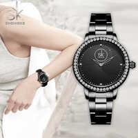 Shengke nowe mody kobiet zegarki czarna bransoletka panie kwarcowe zegarki kryształ luksusowy styl Erkek Kol Saati Zegarek Damski