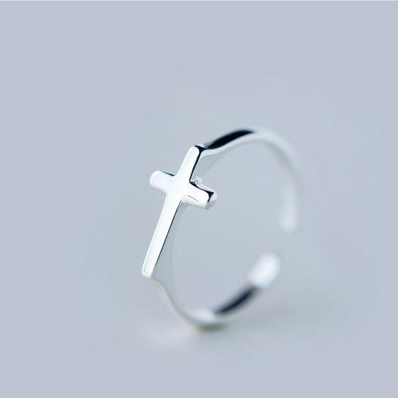 Jewelry 925 Sterling Silver Cross design Rings for women girls Christmas gifts finger ring J1170