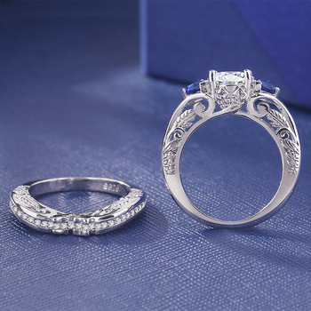 2019 Sliver S925 Sapphire Rings Set Fashion Anillos De Diamond Bizuteria Gemstone for Women Wedding Diamante Jewelry Ring Female 4