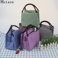 MOLAVE picnic bag Striped Cold Insulation Thicker Punch Pack Ice Portable Lunch Box Bag picnic bag AP30(China)