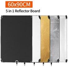 60x90 cm אלומיניום AlloySun סקרים מסגרת גדול 5in1 שחור כסף זהב לבן מפזר רפלקטור עבור מקצועי צילום סטודיו