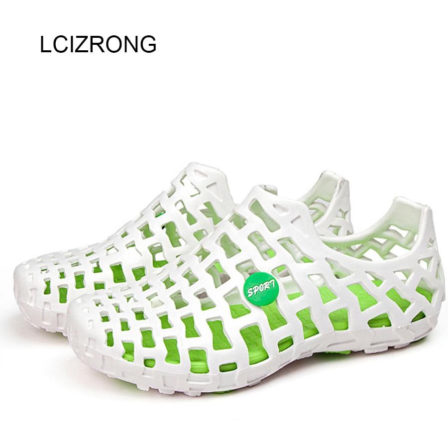LCIZRONG Fashion 5 Colors Lover Sandals Women 36-44 Size Beach Sandals Solid Flat Hole Shoes Casual Couple Unisex Hollow Slides