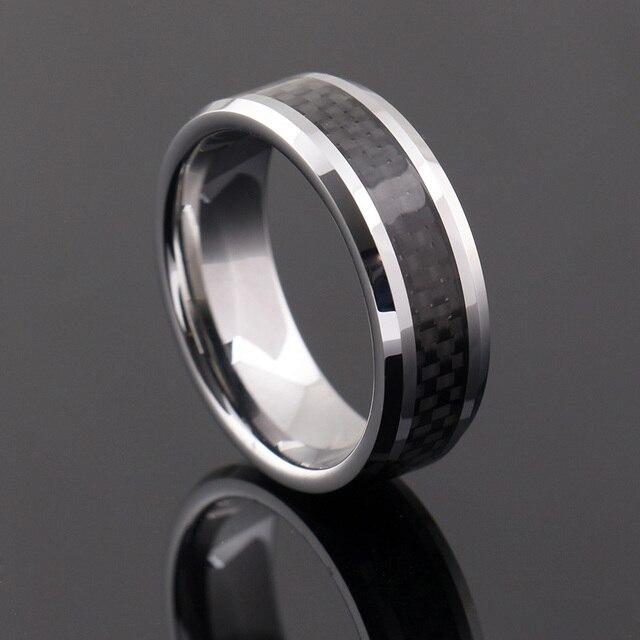 Black Carbon Fiber Tungsten Carbide Ring Mens Wedding Band Size 6 13