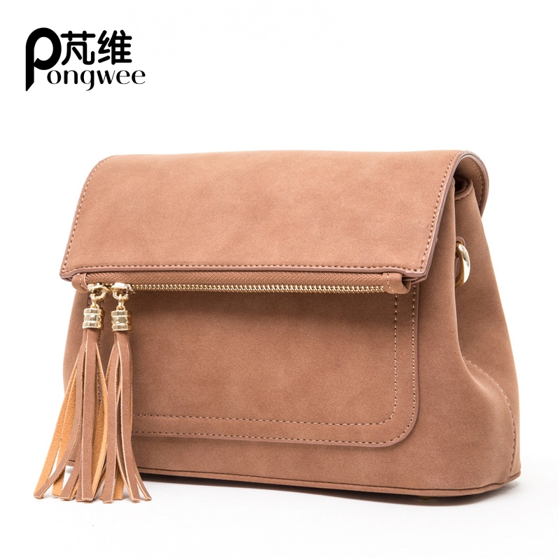 PONGWEE New PU Matte Leather Handbag Diagonal Female package Fashion Fringed Chain Handbags Crossbody Bags perfect selling 2016 new korean chain diagonal fashion handbags handbag crossbody bag lady all match free shipping