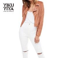 YIKUYIYA 2017 Solid Color New Fashion Reißverschluss Taschen Frauen Biker Jacke Kühlen Grundlegende Weibliche Sleeve Brown Kurzen Frauen Mantel