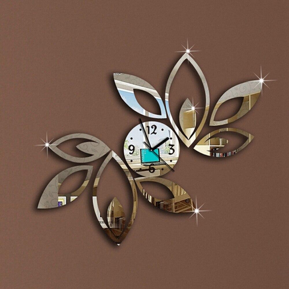 Details About  Modern Removable Mirror Acrylic Wall Clock Sticker Vinyl Art DIY 3D Home Decor