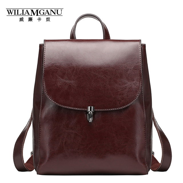 29365a24e6b6 WILIAMGANU genuine leather backpacks ladies casual vintage Cowhide travel  backpack Oil wax leatherBackpack women girl bags 0786