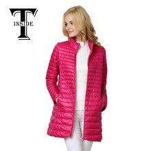 T-INSIDE 2016 Зима Женщины Длинные Пуховики Мода Ultra Light Белый 90% Утка Вниз Пальто С Капюшоном Вниз Парки Для Женщин Плюс Размер