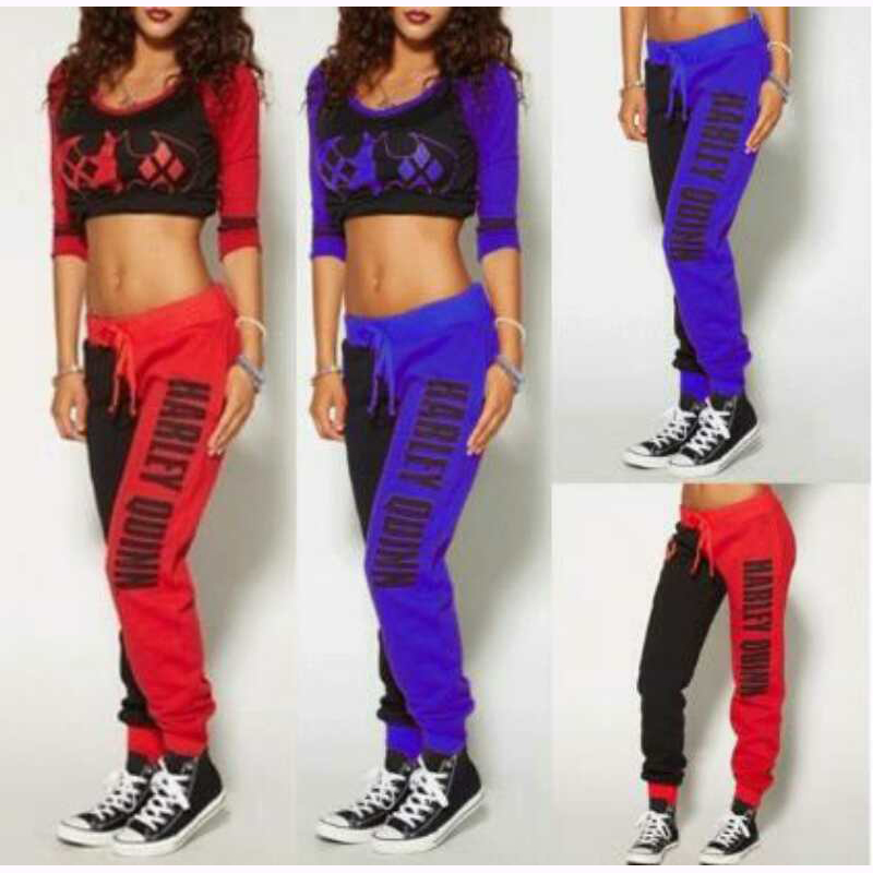 Girls Movie Suicide Squad Harley Quinn Costume Cosplay Suicide Squad Halloween Tracksuit T Shirt Top Trousers Sport Gym Pants