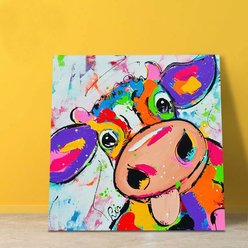 modular painting cartoon cow digital paint by numbers kids oil painting coloring by numbers gift for - Animal Painting For Kids