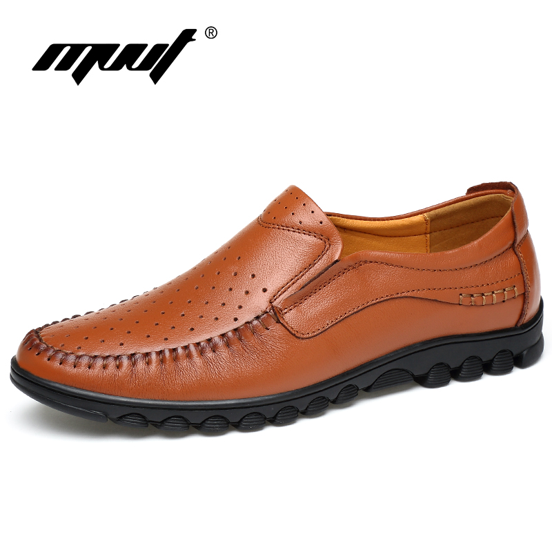 MVVT Plus Size 47 Genuine Leather Shoes  Men Casual Shoes Soft Men Loafers Top Quality Breathable Summer Shoes Men Flats hot sale mens italian style flat shoes genuine leather handmade men casual flats top quality oxford shoes men leather shoes