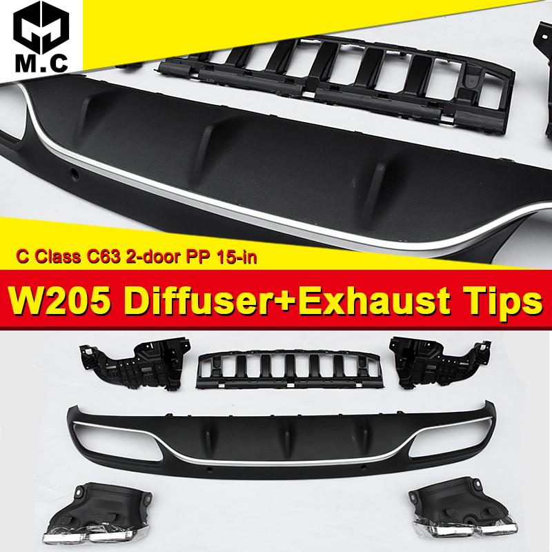 Fits For Benz W205 C63 <font><b>Diffuser</b></font>+Exhaust Tips 2 door <font><b>Rear</b></font> Bumper <font><b>Diffuser</b></font> Lip 4-Outlet Exhaust Endpipe C180 C200 C250 <font><b>C300</b></font> 15-in image