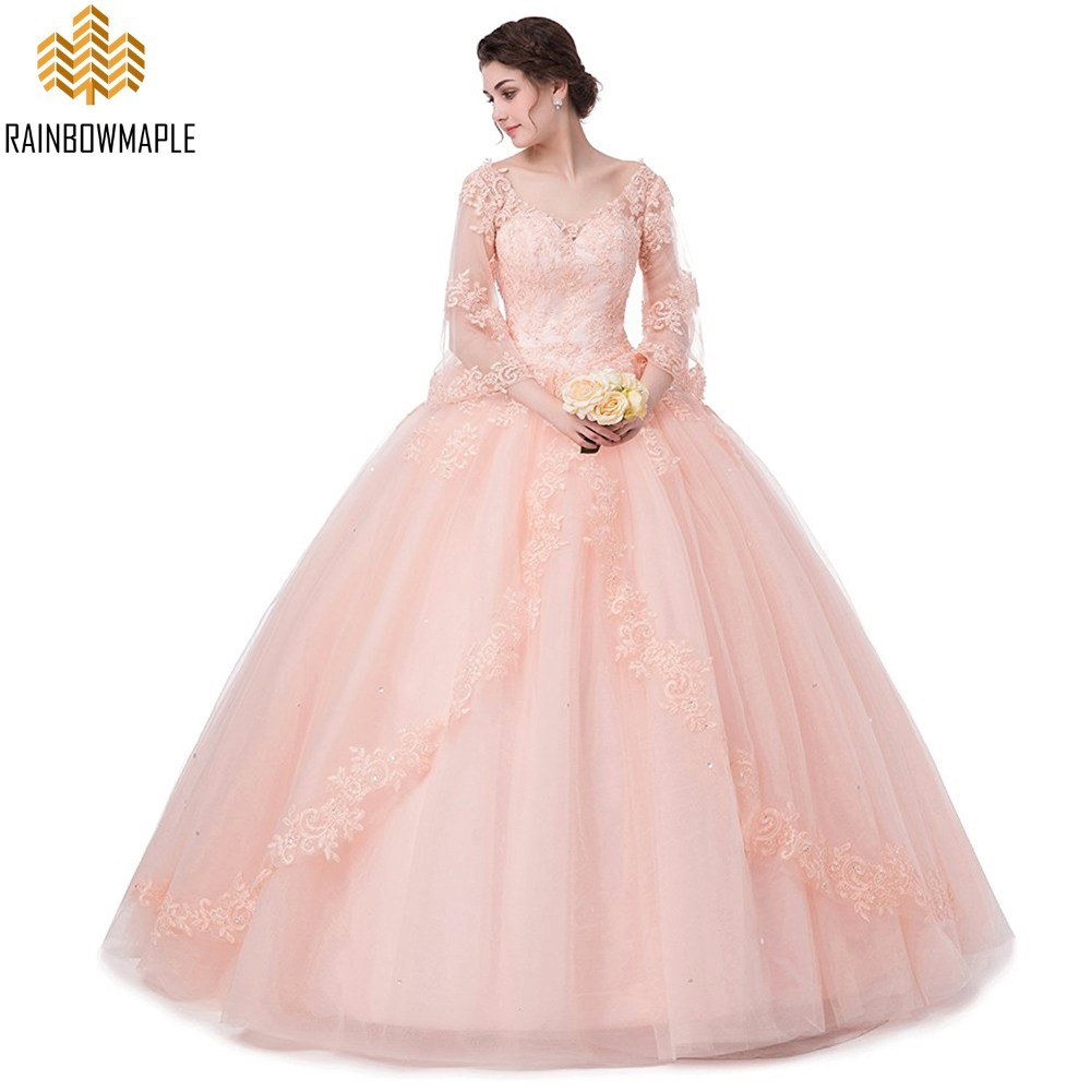 Beautiful Princess Ball Gown Prom Dresses For Juniors With Sleeves ...