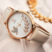 Elegant Flower Women Watch Red Leather Strap Relogio Femino Quartz Clock Hand Fashion Lady Wristwatch Famous Brand Discount Sale