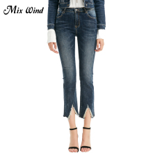 Mix Wind Flare Pants  Personality Women Jeans High Waist Slim Blue Jeans Winter Pocket Denim Jeans Women Bottoms Full Length