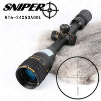 SNIPER NT 6 24X50 AOGL Hunting Riflescopes Tactical Optical Sight Full Size Glass Etched Reticle RGB
