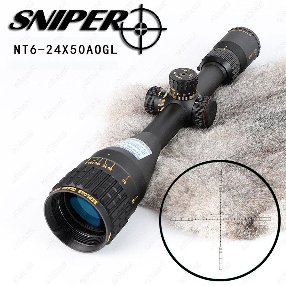 SNIPER NT 6-24X50 AOGL Hunting Riflescopes Tactical Optical Sight Full Size Glass Etched Reticle RGB Illuminated Rifle Scope sniper white version of the sniper 6 24x50aol traffic light mil dot sight optical cross earthquake sniper scope