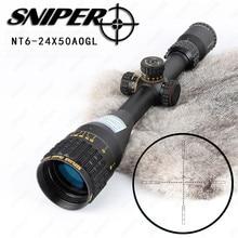 NT 6-24X50 AOGL Polowanie SNIPER Taktyczne Lunety Optyczne Szkło Trawione Siatka RGB Illuminated Rifle Scope Sight W Pełnym Rozmiarze
