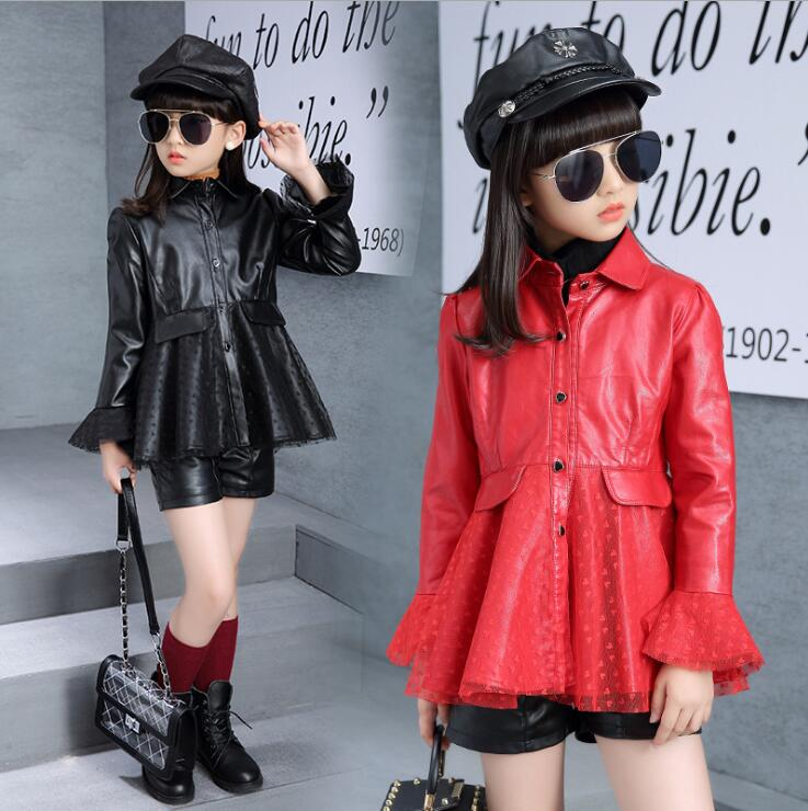 Spring Kids Clothes PU Leather Girls Leather dress Jackets Children Outwear For Baby Girls Clothing Coats Costume 3-13years ins spring kids jacket pu leather girls jackets clothes children outwear for baby girls boys clothing coats costume winter 1 7y