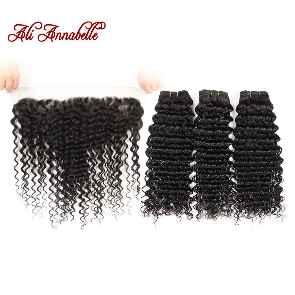 ALI ANNABELLE Deep Wave 3 Bundles With Closure 100 Human Hair Bundles With Frontal Natural Color