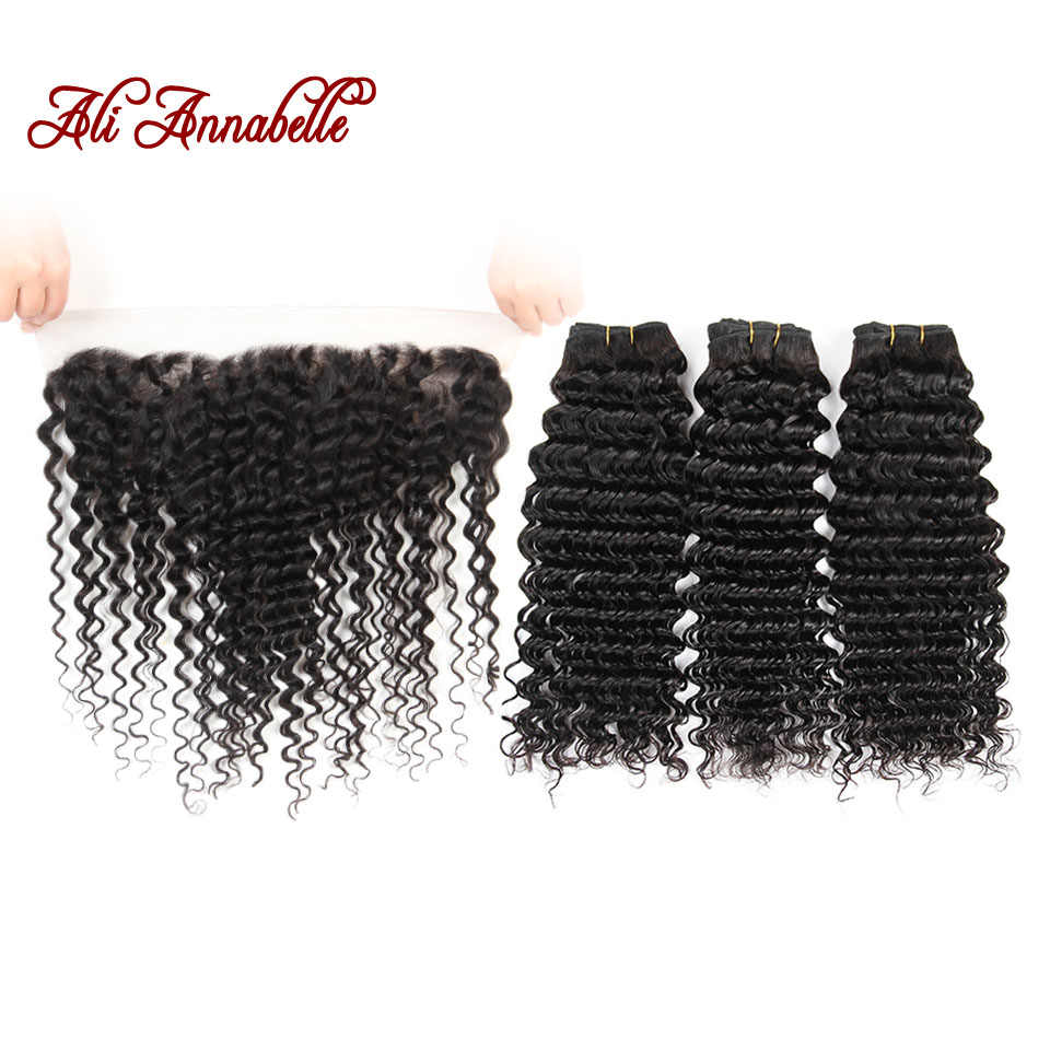 ALI ANNABELLE Deep Wave 3 Bundles With Closure 100% Human Hair Bundles With Frontal  Natural Color Indian Hair Weave Bundle Remy