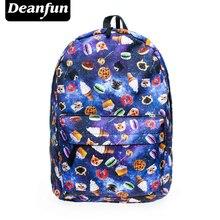 Deanfu Для женщин холст Рюкзаки смайлик emoji Для лица печати школьная сумка для подростков Обувь для девочек сумка Mochila SB7