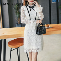 2018 Early Spring New Bow White Lace Dress Flare Sleeve Female Long Sleeved Bottoming White Dress