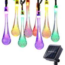 F5 الشمسية ضوء سلسلة 20 المصابيح مقاوم للماء قطرة الماء سلسلة الجنية ضوء في الهواء الطلق حديقة عيد الميلاد الطرف الديكور أضواء الشمسية