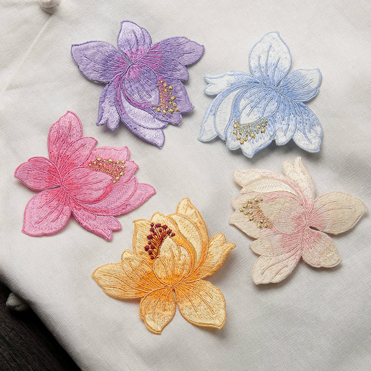 10pcs Lotus Embroidery Iron on Sew on Patches for Clothing Applique DIY Hat Coat Dress Pants Accessories Cloth Sticker