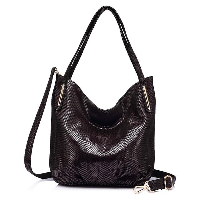 Женская большая кожаная сумка хобо REALER