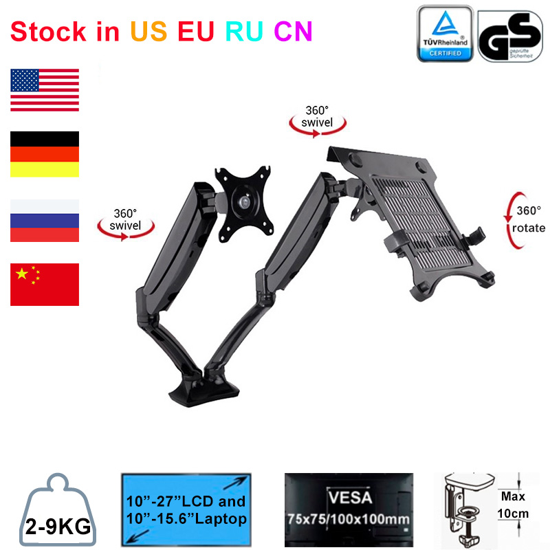 Desktop Full Motion Gas Spring Dual Monitor Mount Display Stand for 10 27 Monitor and 10