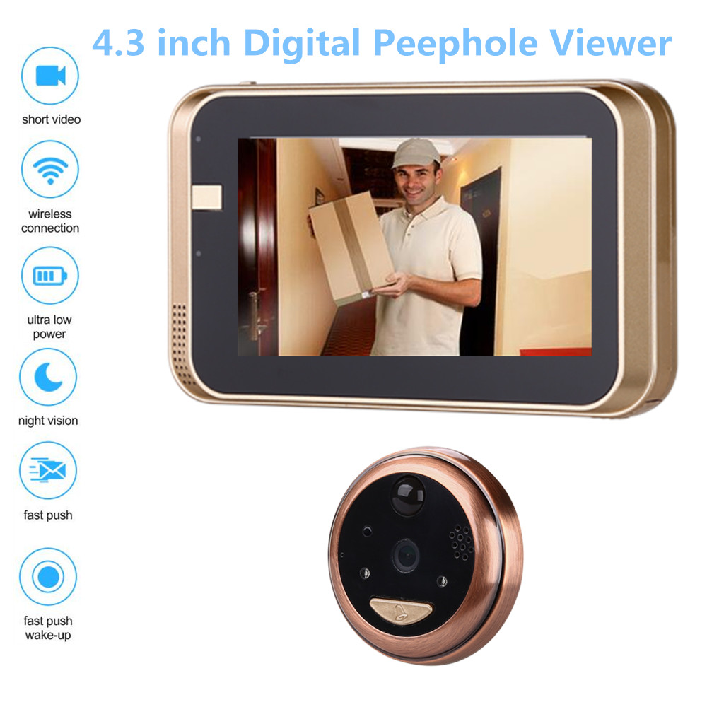 4 3Inch Peephole WiFi HD720P Doorbell With Camera Intercom APP Remote Control For IOS Andriod PIR