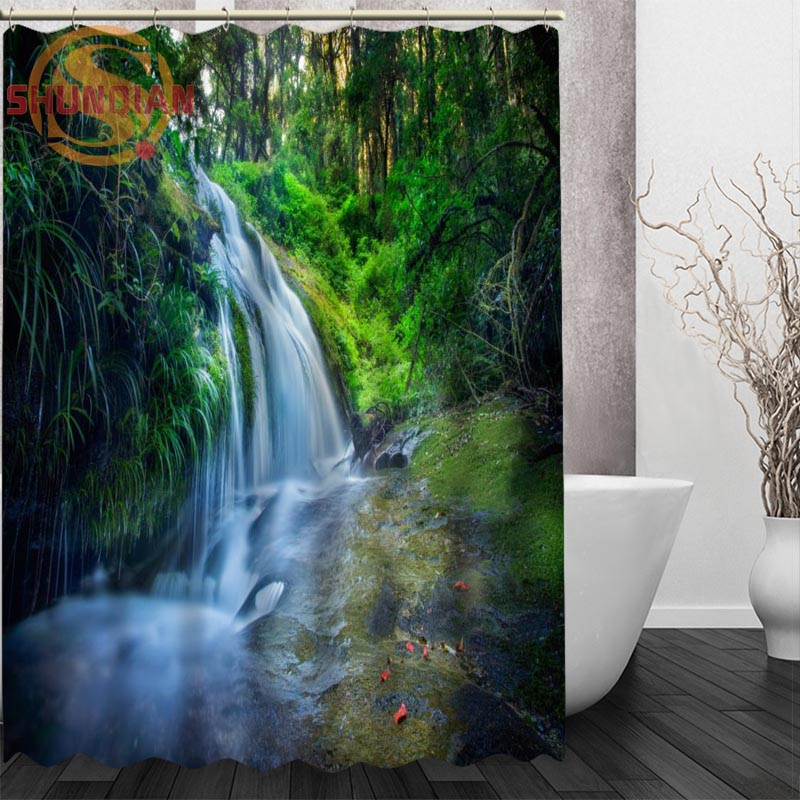 Eco Home Decor: Waterfall Landscape Shower Curtain Eco Friendly Modern