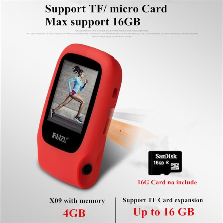 RUIZU X09 MINI MP3 Player Running Sports Clip Mp3 Walkman Support TF Card Music Player With 1.5 inch Screen E-Book Recording FM (6)