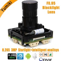 intelligent analisys H.265 1/2.8 SONY IMX291+Hi3516CV300 IP CCTV camera PCB board module+F0.95 LENs +LAN cable