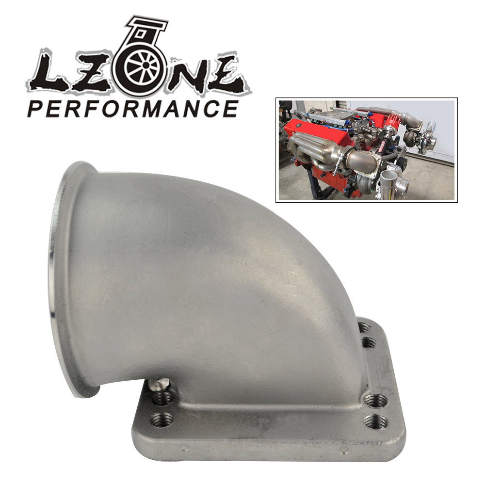 LZONE 3.0 Vband 90 Degree Cast Turbo Elbow Adapter Flange 304 Stainless Steel For T3 T4 Turbocharger JR TEA30