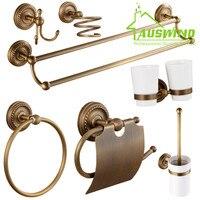 Antiguo Europeo de Bronce Accesorios de Baño Secador de Pelo Estante Hardware Baño Caja del Tejido/Toalla Bar/Copa estante/